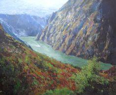 Un paisaje al oleo de la Ribeira Sacra en Lugo, en concreto del cañon del río Sil. Un cuadro de estilo impresionista de este bonito lugar.