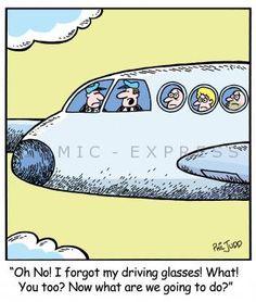 """""""Oh, no! Olvidé mis gafas para conducir! Qué? Tú también? Y ahora qué hacemos?"""" #humor #glasses"""