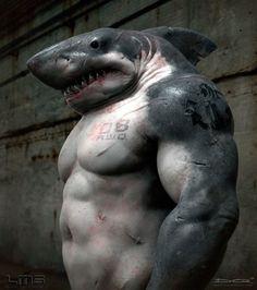 My new shark-man bodyguard. King Shark, Shark Man, Creature 3d, Creature Design, Photomontage, Photo Humour, Modelos 3d, 3d Fantasy, Shark Week