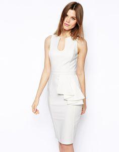 56b9eabb1727 ASOS Pencil Dress With Asymmetric Peplum Cocktail Length Dress