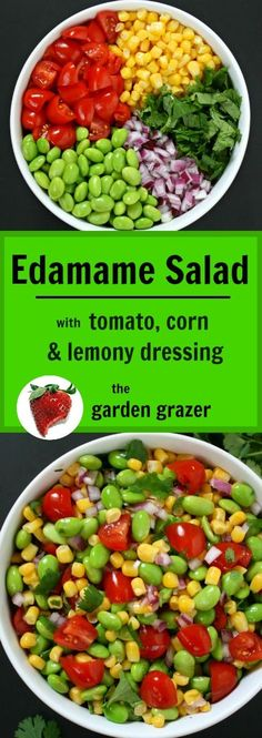 Tomato, Corn Salad with Lemony Dressing EASY Edamame Salad! Fun & versatile recipe, and great for take-along lunches! Fun & versatile recipe, and great for take-along lunches! Healthy Recipes, Veggie Recipes, Whole Food Recipes, Healthy Snacks, Vegetarian Recipes, Healthy Eating, Cooking Recipes, Vegetarian Kids, Kid Recipes
