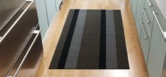 Shag Indoor Outdoor Big Mat in Silver Black Bold Stripe