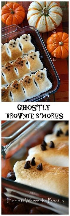 Halloween Party Treats Appetizers and Desserts Recipes - Ghostly Peeps Brownie S'Mores Dessert Treats Recipe via Home is Where the Boat Is