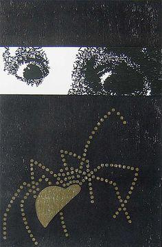 Titel: Arachnofobia. 3 kleuren houtdruk, oplage 4. Formaat: 62 x 40 cm, 2010.