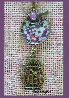Sautoir rétro éloïse violet : Collier par crocmyys