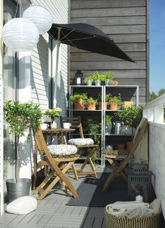 Hey at IKEA Austria A narrow balcony with a wooden table and foldable . Hey at IKEA Austria A narrow balcony with a wooden table and foldable ASKHOLMEN chairs for the outside glazed Outdoor Furniture Sets, Decor, Apartment Garden, Balcony Decor, Balcony Furniture, Outdoor Space, Porch Furniture, Balcony Chairs, Wooden Table And Chairs