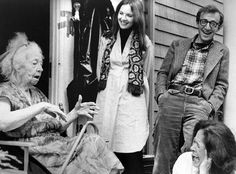 Diane Keaton, Woody Allen and Colleen Dewhurst get a laugh from something Helen Ludlam said on the set of Annie Hall