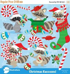 80%OFF Christmas raccoon clipart vector by AMBillustrations