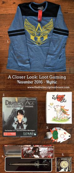 November's Loot Gaming Mythic crate unboxed! Read our review to see all the video game loot. Assassin's Creed Shirt, Dragon Age and Chibiterasu figures & more!  http://www.findsubscriptionboxes.com/a-closer-look/november-2016-loot-gaming-review/?utm_campaign=coschedule&utm_source=pinterest&utm_medium=Find%20Subscription%20Boxes&utm_content=November%202016%20Loot%20Gaming%20Review%20and%20Coupon  #LootGaming