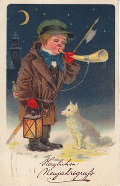 AK, Neujahr, Künstlerkarte, Kleiner Nachtwächter, weißes Hündchen, Laterne, 1928 | eBay