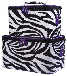 """Purple Trim Zebra Train Case Set Cosmetic Makeup by Private Label. $32.95. Adjustable Shoulder Straps Included. Mirrors inside each train case. Material: Microfiber. Size : Large Case 12"""" x 7"""" x 8"""" and Small Case 10"""" x 8"""" x 7"""". Color: Black White Purple. Complete with detachable and adjustable shoulder straps, interior mirrors, and pockets for added convenience, this two piece train case is sure to please! Each solid, stand-alone case is made of a durable canvas material av..."""
