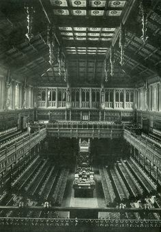 The old British House of Commons interior, prior to its destruction by German bombing, ~1941