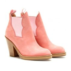 Acne Studios Star Suede Ankle Boots ($364) ❤ liked on Polyvore featuring shoes, boots, ankle booties, ankle boots, acne, booties, dusty rose, platform booties, platform boots and short suede boots