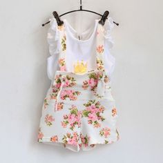 New fashion girls clothes set summer crown shite shirt with floral overall  skirt set suit for 3277d136546