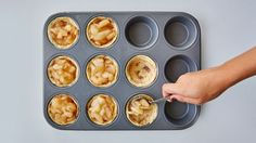 Yes, you can make tasty apple pie cups with just two ingredients! All you need are a can of Pillsbury™ refrigerated cinnamon rolls and apple pie filling.