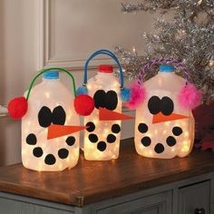 Milk Jugs - transformed into snowmen lanterns (the link doesn't specify, but I would recommend LED lights because they stay cool--wouldn't want to run the risk of fire/melting)