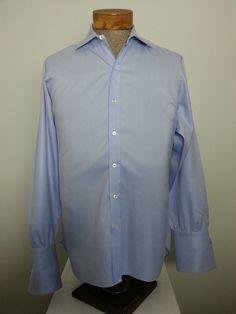 Turnbull & Asser Men's French Cuff Dress Shirt Sz 16-34 Blue Spread Collar Cotton #TurnbullAsser