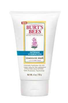 This mask uses clary sage to hydrate the skin and diffuse fine lines.  Burt's Bees Intense Hydration Treatment Mask, $17.99, available at Soap.com.