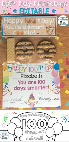 Easily create personalized & memorable awards, treats, & crowns for your 100th Day of School celebration. Simply customize the editable fields and print. Multiple designs - use them for your 100th day celebration for years to come!