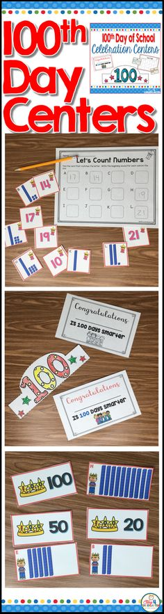 100th day of school celebration centers for kindergarten. Don't let the celebration end. Keep the centers going all week long with these math and literacy centers that have the 100th day of school theme. This resource includes a 100 day hat and certificate too.