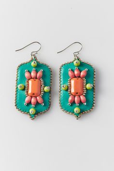 Handmade bead embroidered dangle earrings - Facets collection - by AntoniettaPresti on Etsy