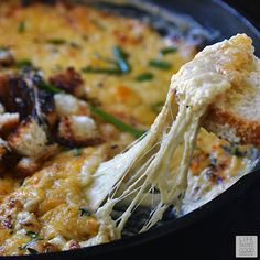 Creamy, cheesy, and savory, Skillet French Onion Soup Dip   by Life Tastes Good tastes like classic French Onion Soup and is so easy to make! Mixing the ingredients all in one skillet, while heating, is the key to having it hot and ready in just 10 minutes! This delicious appetizer is a real crowd pleaser! #LTGrecipes