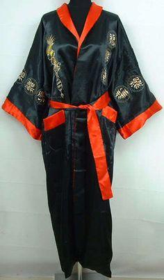 525576bba52 Double-face Chinese silk satin Men s Kimono Robe Gown bathrobe S M L XL XXL  3XL