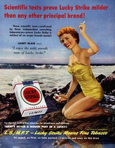 LUCKY STRIKE Cigarettes Vintage Poster Advert Actress Janet Blair 1950s  @ΛlιΚΛЯΔΜΙ #cigarettecollection