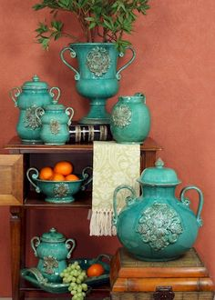 Italian pottery...Great punch of color!  I love to think in terms of marrying warm and cool colors.  Here is a great example!