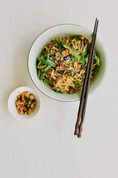 Asparagus rice noodle salad