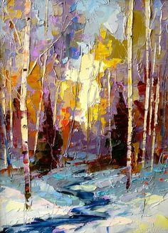 Frozen Brook by Dean Bradshaw oil Oil Painting Trees, Painting & Drawing, Knife Painting, Oil Paintings, Landscape Art, Landscape Paintings, Landscapes, Global Art, Beautiful Paintings