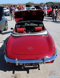1971 Jaguar E Type 4.2. As seen at the March 2016 Cars and Coffee show in Austin TX USA.