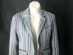 ROBERT GRAHAM Womens 4 Jacket Blazer Wool Cotton Multi Color  SEE Condition #ROBERTGRAHAM #Blazer