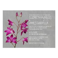 Dendrobium Orchid Wedding Invitations Personalized Invite