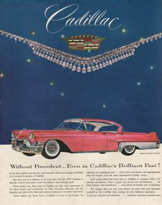 1957 Cadillac car in pink Print ad Without Precedent by Vividiom, $9.00