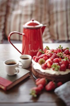 Coffee and strawberry cake.