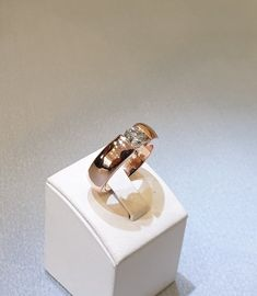 17,8 mm Ring Solitär Gold Rotgold Roségold 585 Diamant Brilliant 1,002 ct Farbe weiß