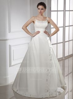 Wedding Dresses - $192.99 - A-Line/Princess Sweetheart Floor-Length Satin Wedding Dress With Ruffle Beading (002015469) http://jjshouse.com/A-Line-Princess-Sweetheart-Floor-Length-Satin-Wedding-Dress-With-Ruffle-Beading-002015469-g15469