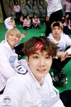 Rap line lookin adorbs + Jimin in background || Yoongi Oppa, Hoseok, and Namjoon