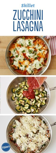 Ditch the noodles, and use up your extra zucchini in this no-fuss scoop-and-serve skillet lasagna, full of fresh, summery flavors (and, of course, cheese!). If you're looking for a timesaving shortcut, use rotisserie chicken! Don't be afraid to make this veggie-only if you're cooking vegetarian.