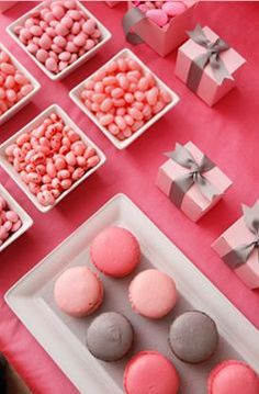 pink and silver wedding, simple with jelly beans, macarons, and small gift boxes