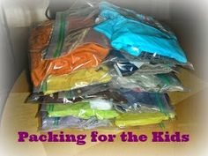 Travelling with the kids? Pack the hassle free way! I always end up digging through my suitcase trying to find all the components of an outfit! NEVER again!  Super easy trick for packing for the kids.  ~Frugal Mommy Christine