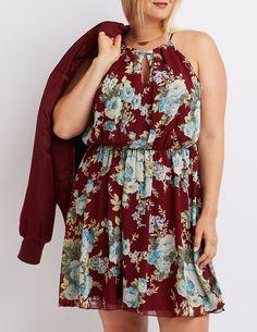 Plus Size Floral Bib Neck Keyhole Dress | Charlotte Russe