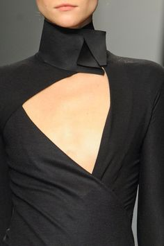 Sharp collar details - perfectly imbalanced line, angle and fold - closeup fashion features // Donna Karan
