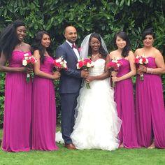 Raspberry bridesmaids dresses from David's bridal London.