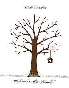 Baby Shower Fingerprint, Fingerprint Tree, Baby Shower Tree, Unique Baby Shower, Guest Book Tree, Guest Book Sign, Thumbprint Tree, Tree Templates, Printable Templates