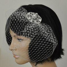 Birdcage Veil SWAROVSKI Crystals Hair piece 2 by SnowWhiteStudio, $66.00