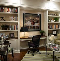 Great built in shelving & desk nook. The lighting is the key to this great design.