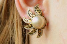 Vintage Damascene Faux Pearl Earrings Sun by CamanoIslandVintage, $24.50