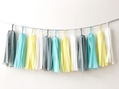 Excited to share the latest addition to my #etsy shop: Mint Gray Yellow Tassel Garland Nursery Room Decor Boy Birthday Tassel Bunting Mint Yellow Baby Shower Banner Gender Neutral Tassel Backdrop